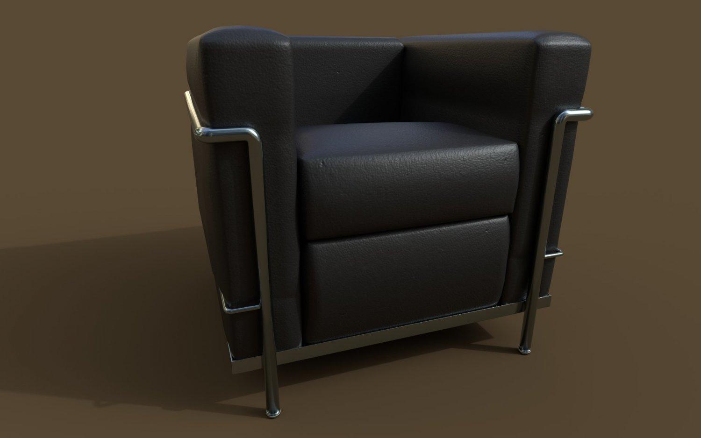 Lc2 armchair by le corbusier modello 3d in sedia 3dexport