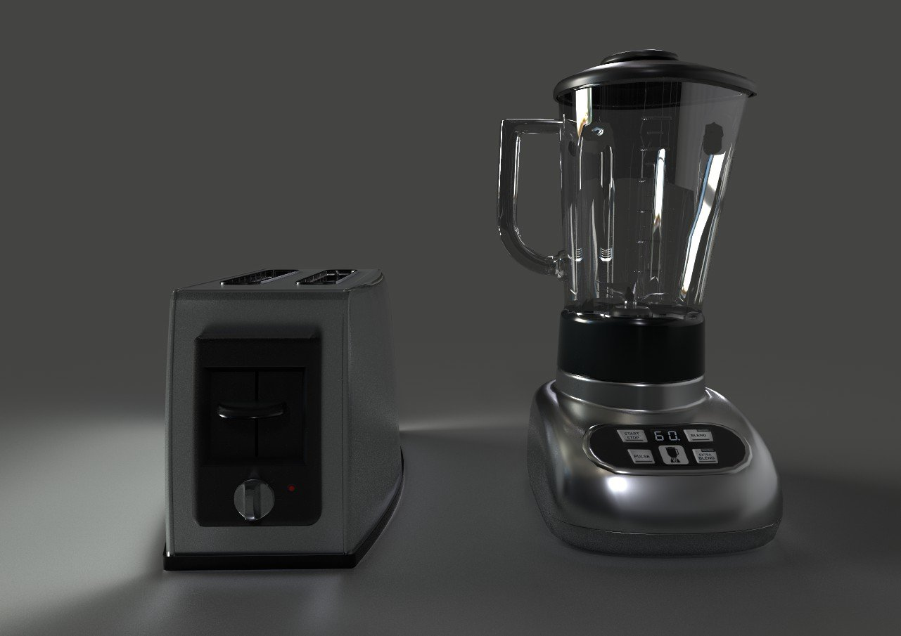Toaster and Blender 3D Model in Cookware Tools 3DExport