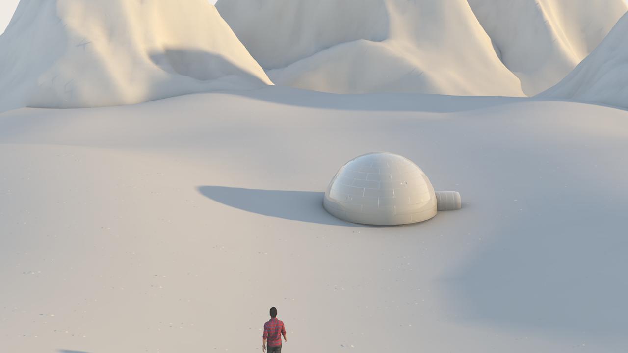 Snow mountains landscape 3D Model in Bomber 3DExport
