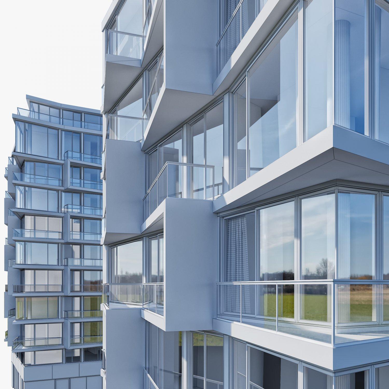 Apartment building 3D Model in Buildings 3DExport