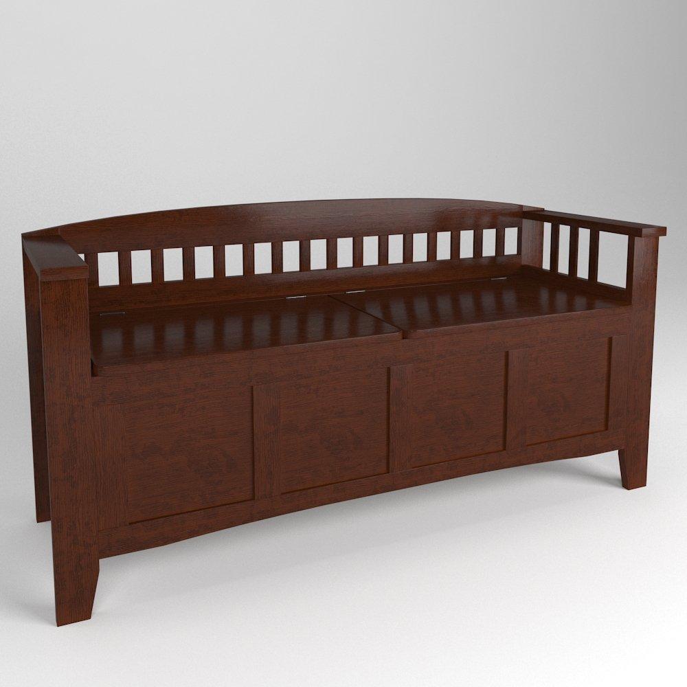 Walnut Storage Bench With Split Seat 3d Model In Bedroom 3dexport
