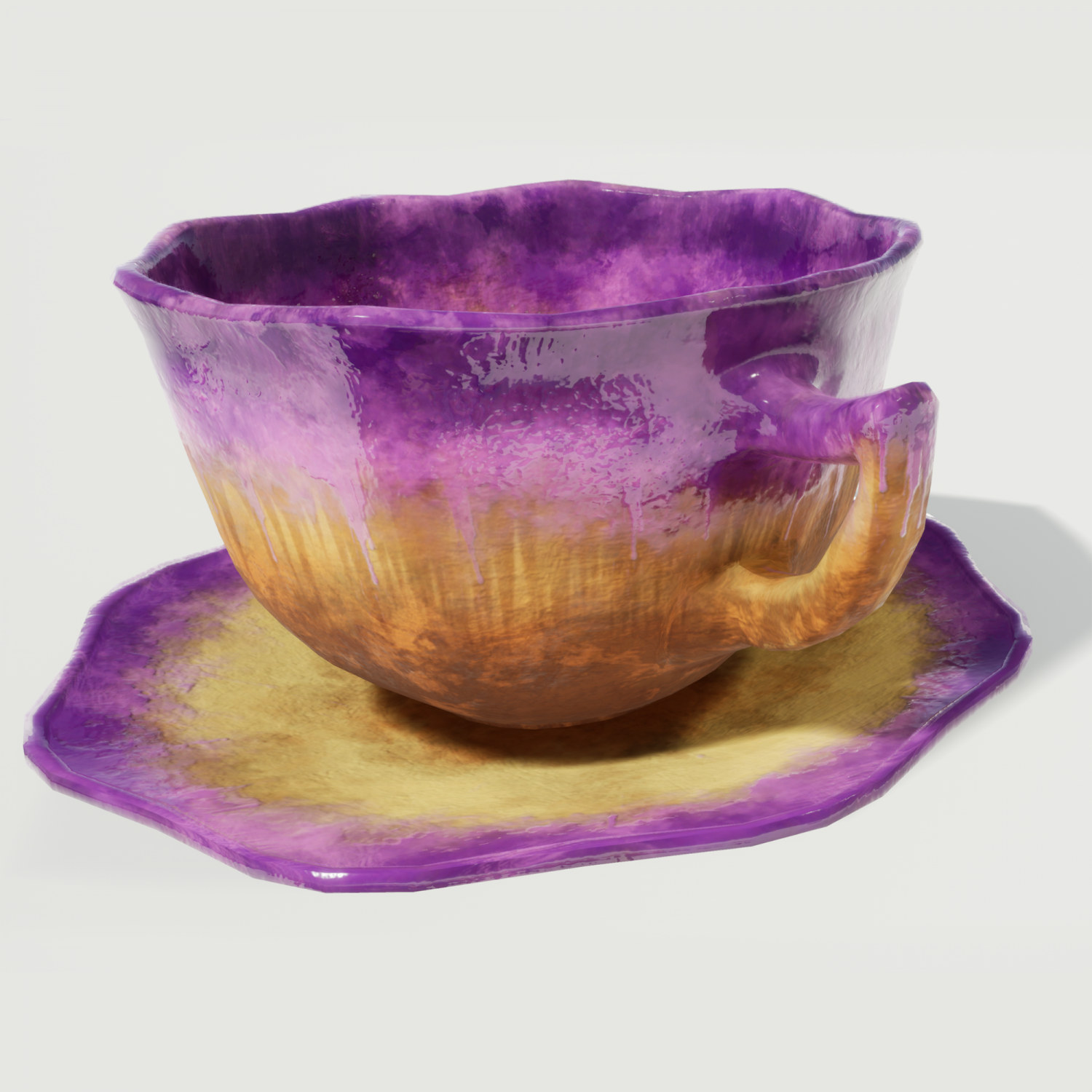 Teacup and Saucer Purple Glazed 3D Model in Cookware Tools 3DExport