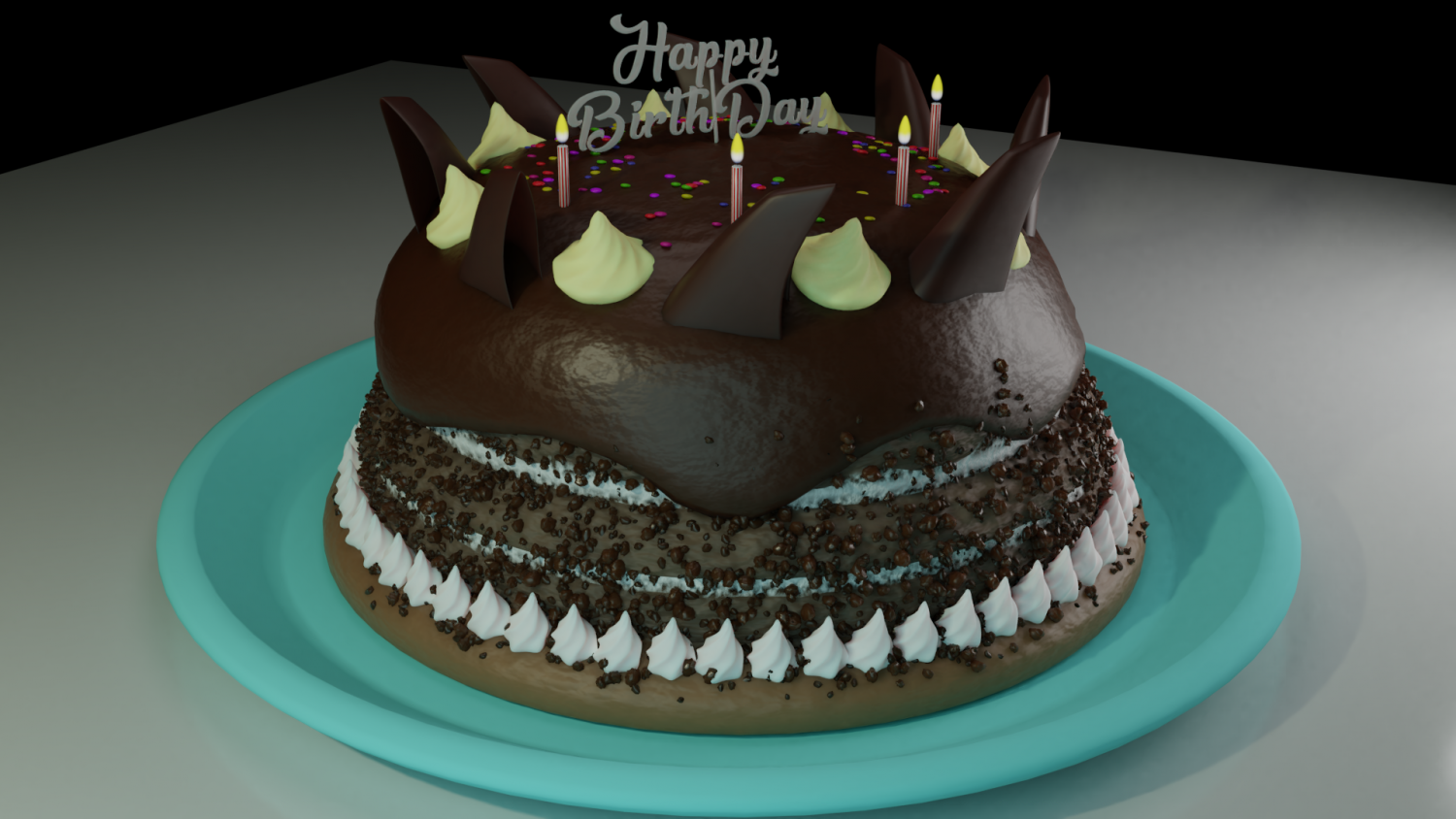 Birthday Cake Chocolate And Gems Free 3d Model In Miscellaneous 3dexport