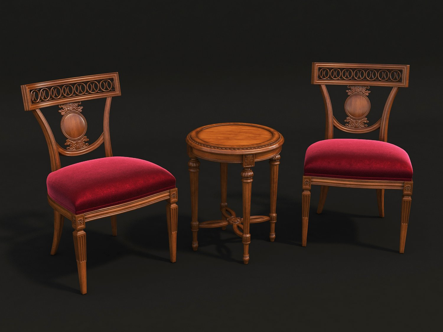 european style carving chair and table 3d model c4d max obj fbx ma lwo 3ds 3dm stl o