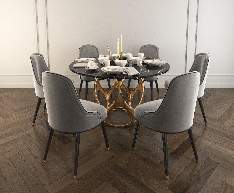 Modern Design Dining Table Set 2 3d Modell In Esszimmer 3dexport