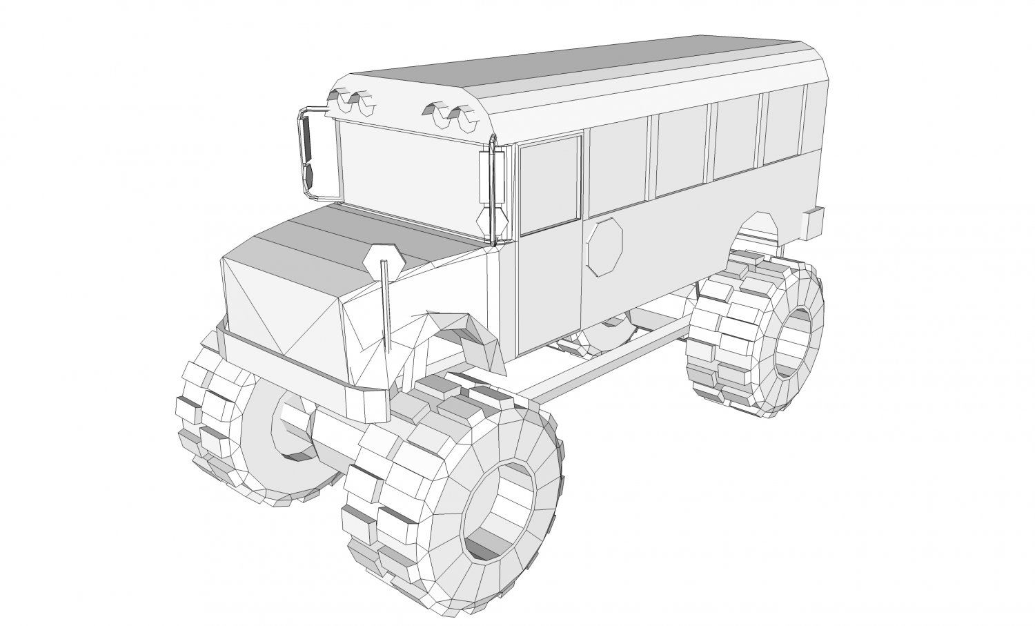 School bus monster truck 3D Model in Bus 3DExport