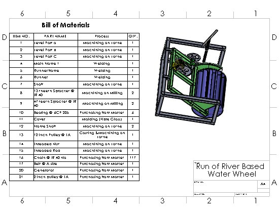 Run of River Turbine solidworks model with pdf drawings 3D Model in Other  3DExport