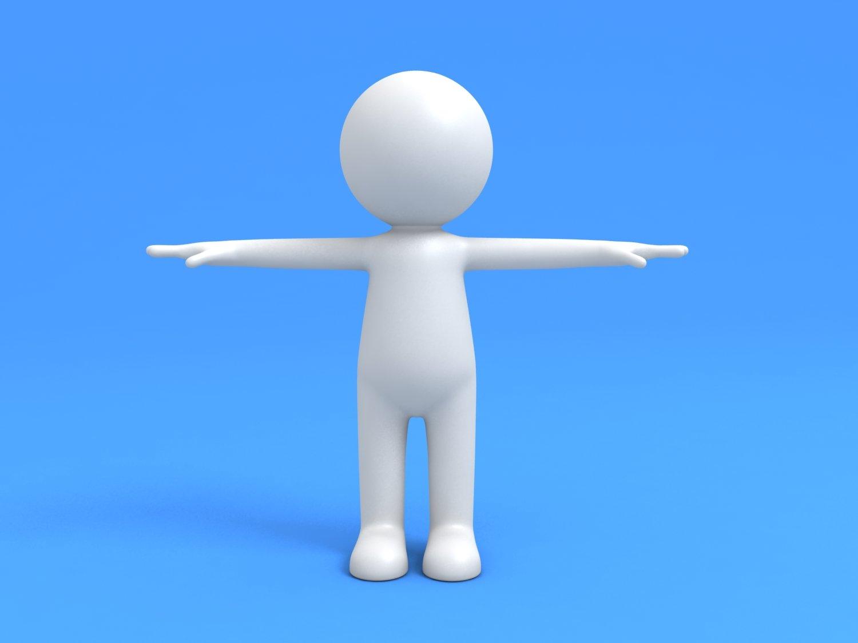 Stickman White Human 3D Model in Cartoon 3DExport