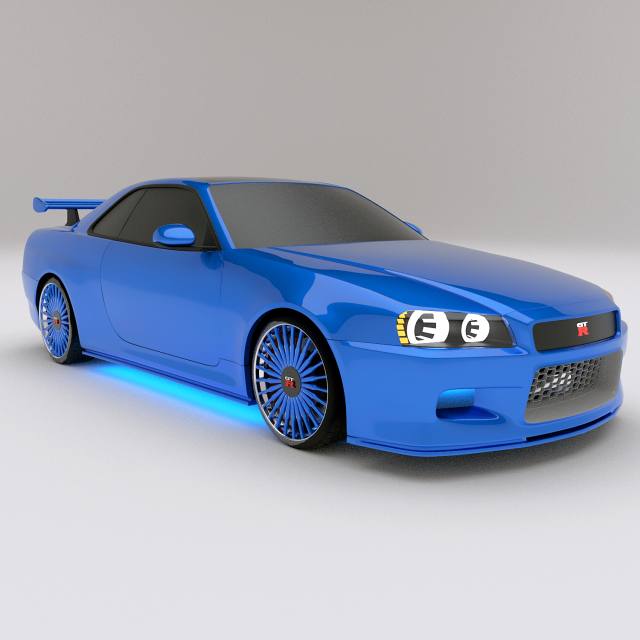 Wonderful Nissan Skyline GTR R34 3D Model