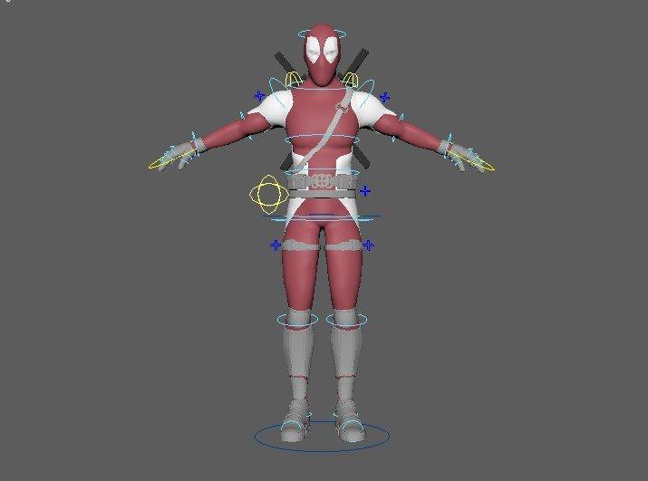 Deadpool Rigged 3D Model in Man 3DExport