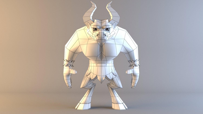 Minotaur Model Low Poly Character 3D Model in Monster 3DExport