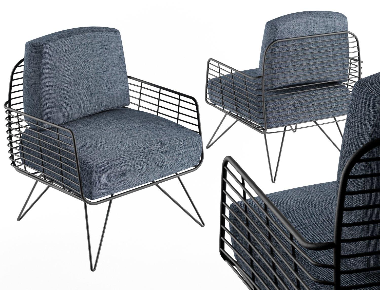 armchair modern with metal tile 3d model c4d max obj fbx ma lwo 3ds 3dm stl o