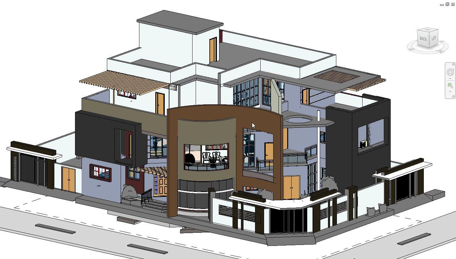 Modern Villa in revit 2017 3D Model in Buildings 3DExport