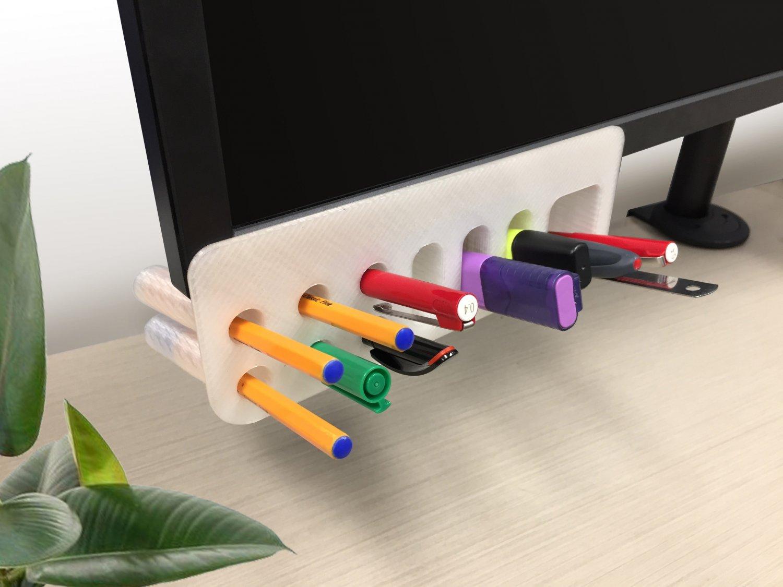 Desk Organiser Pen Holder Monitor Mounted Free 3333D Model in Accessories  3333DExport