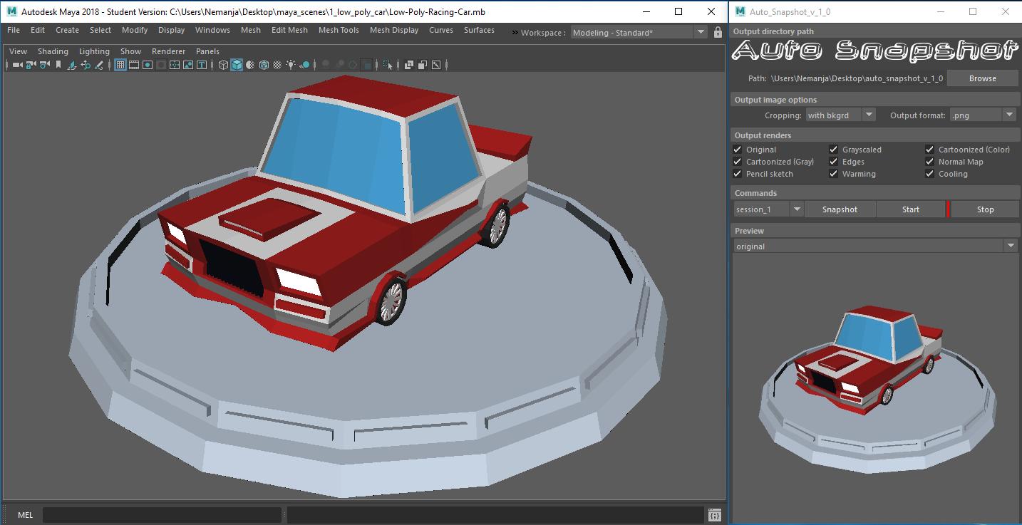 Auto Snapshot plug-in for Autodesk Maya 3D Model in Scripts 3DExport