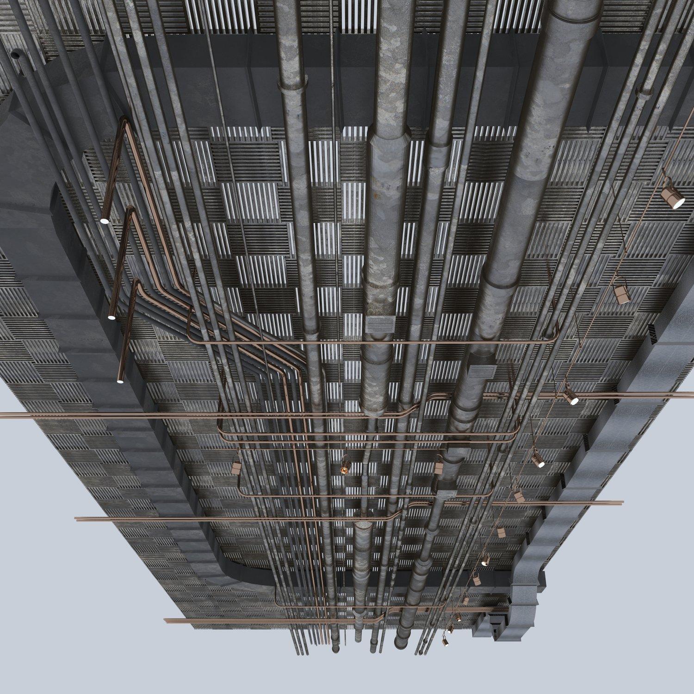Pipes industrial ceiling 3D Model in Store Spaces 3DExport