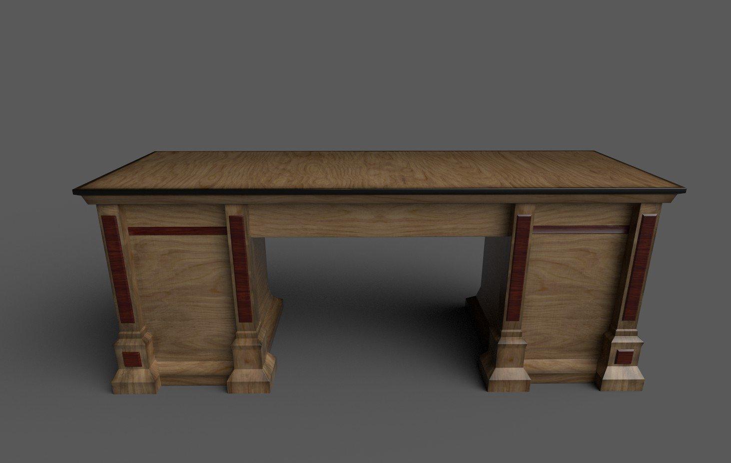 Old office table 3D Model in Desk 3DExport
