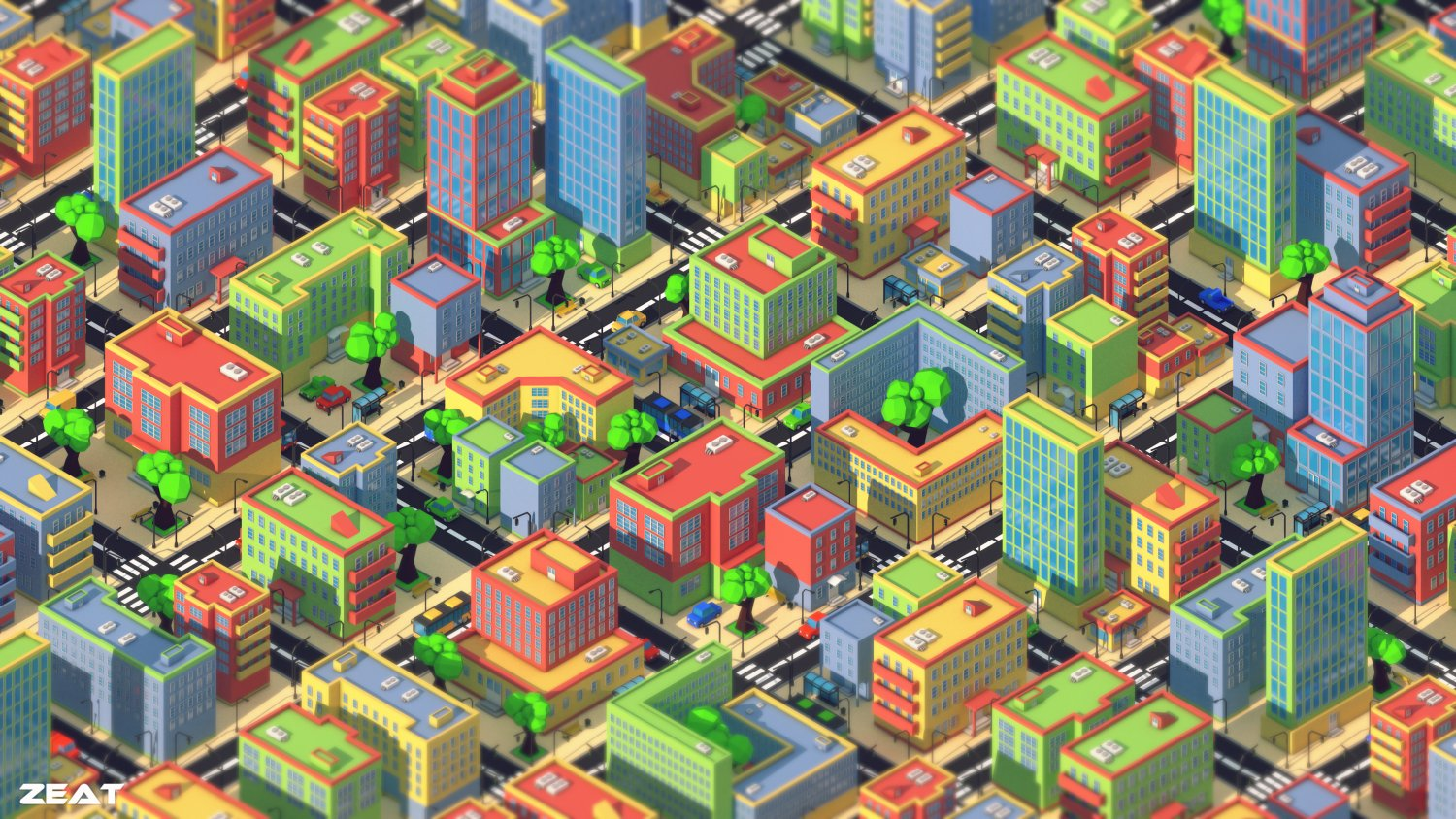 Low poly city 3D Model in Cityscapes 3DExport