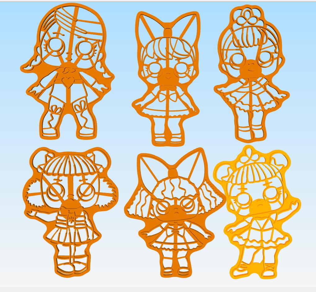 Lol Surprise Dolls cookies cutter 3D print model 3D Model in Other 3DExport