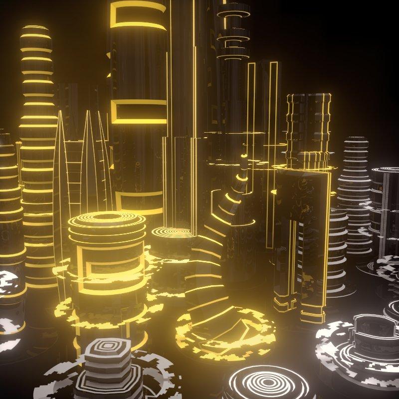 SciFi City 3D Model in Fantasy 3DExport