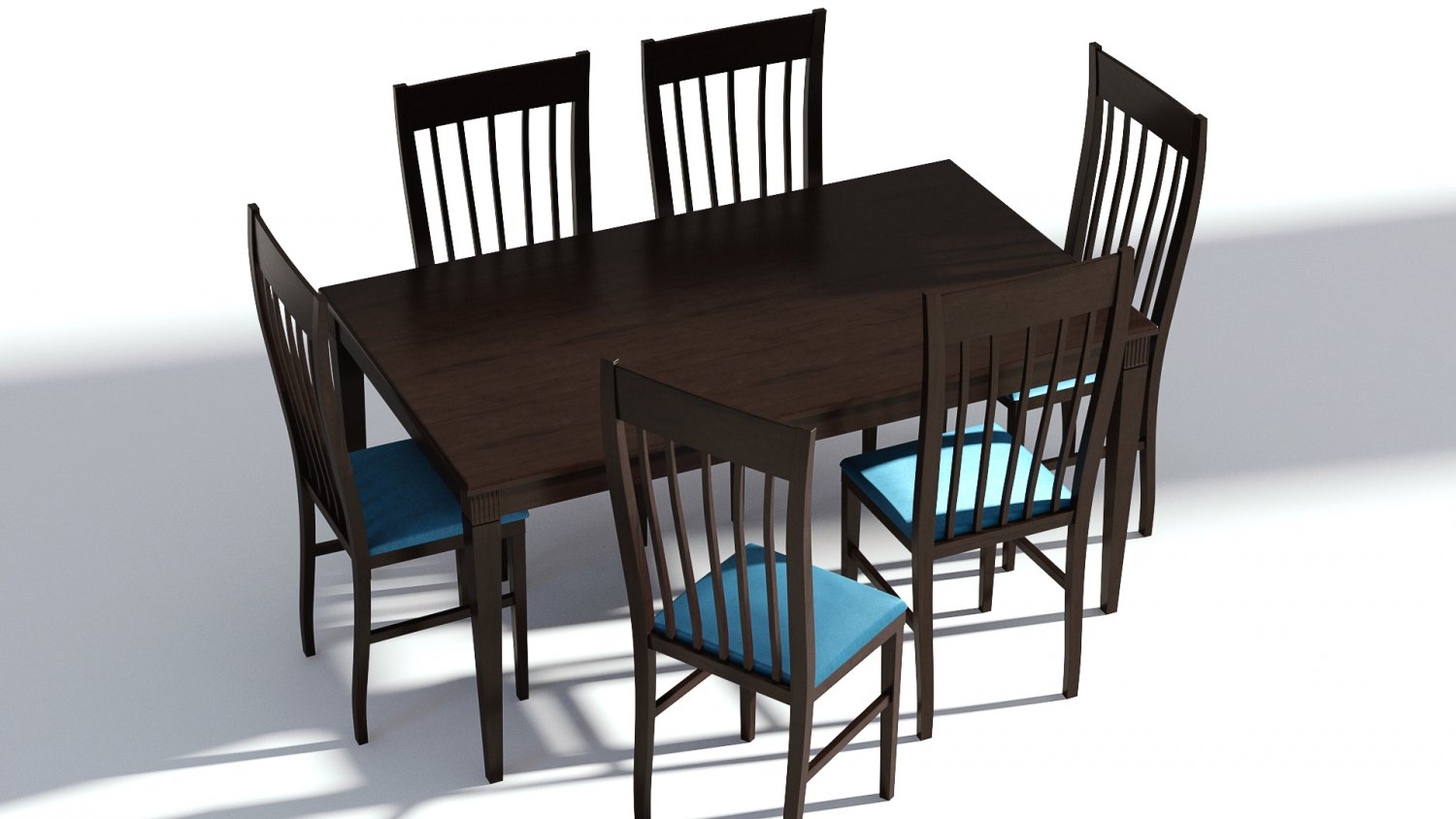 Dark Wooden Dining Set 6 Chairs And Table 3d Modell In Tisch 3dexport