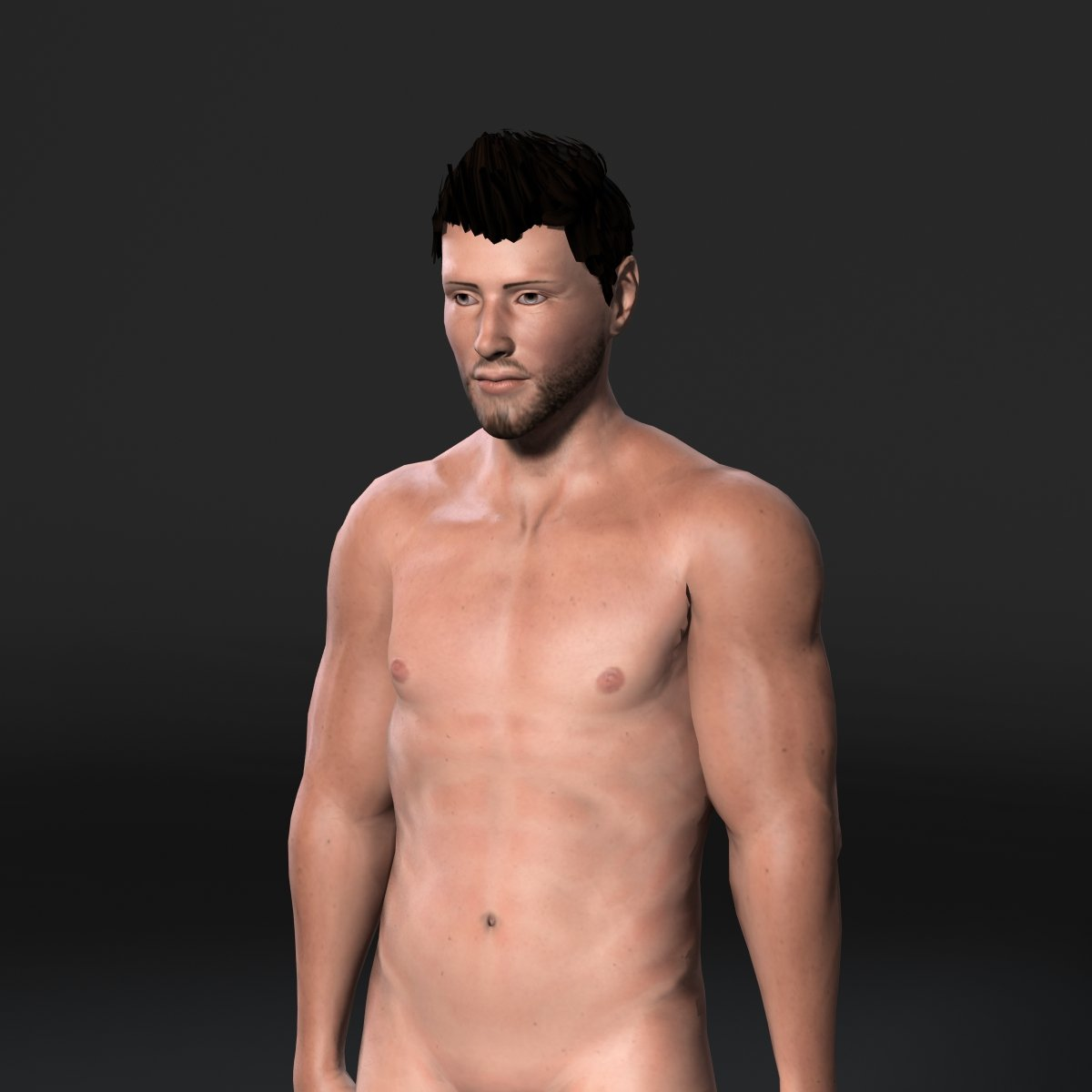 Animated Muscular Naked Man-Rigged 3d game character Low