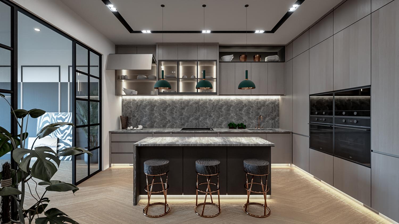 Interior Design Ideas Small Kitchen 9D Modell in Küche 9DExport